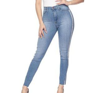 Vibrant Jeans Rhinestone Stripe High Waisted Denim